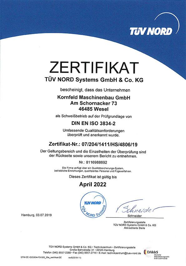 Kornfeld Maschinenbau Zertifikat DIN EN ISO 3834-2