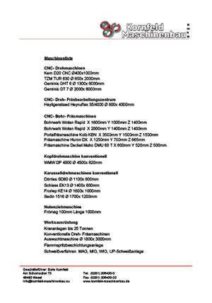 Kornled Maschinenbau Maschinenliste